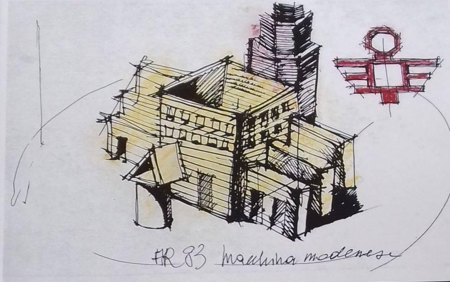 Disegno della Macchina modenese di Aldo Rossi