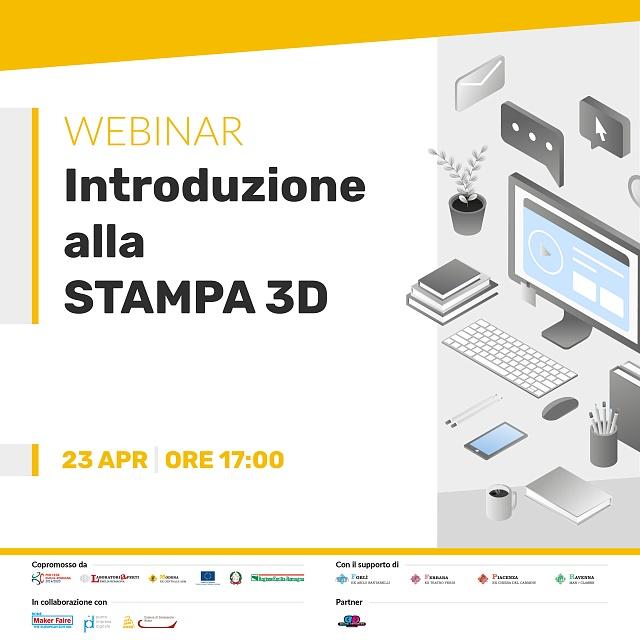 Locandina del webinar Introduzione alla stampa 3D