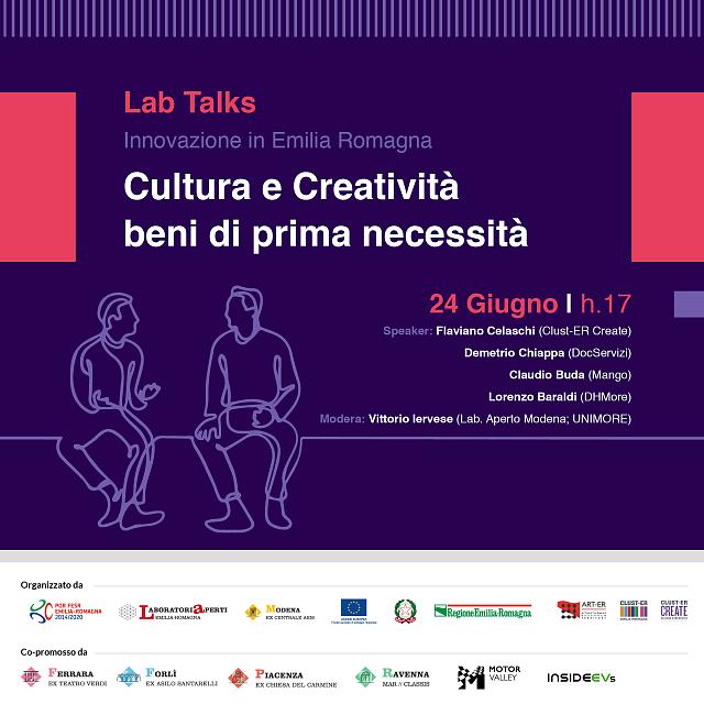 """24 GIUGNO – Cultura e Creatività: beni di prima necessità  – LAB TALKS """"INNOVAZIONE IN EMILIA-ROMAGNA"""""""