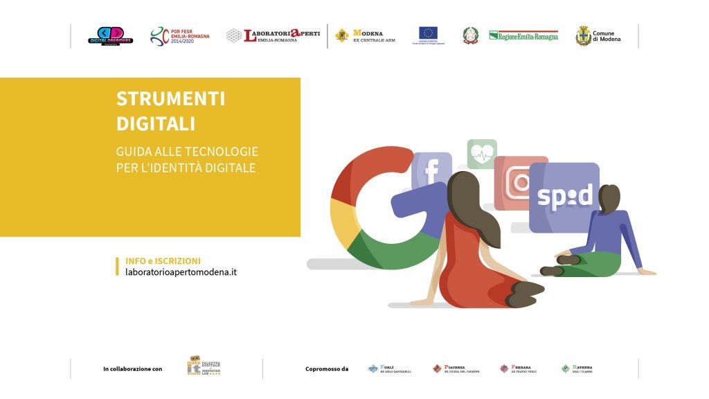 Locandina webinar Strumenti digitali. Guida alle tecnologie per l'identità digitale